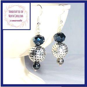 Sterling Silver Earrings Crystal Malachite
